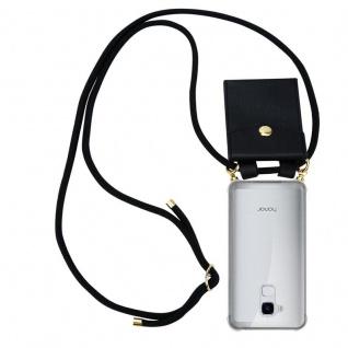 Cadorabo Handy Kette für Honor 5C in SCHWARZ - Silikon Necklace Umhänge Hülle mit Gold Ringen, Kordel Band Schnur und abnehmbarem Etui ? Schutzhülle