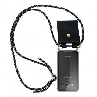 Cadorabo Handy Kette für Samsung Galaxy J3 / J3 DUOS 2016 in CAMOUFLAGE ? Silikon Necklace Umhänge Hülle mit Gold Ringen, Kordel Band Schnur und abnehmbarem Etui ? Schutzhülle