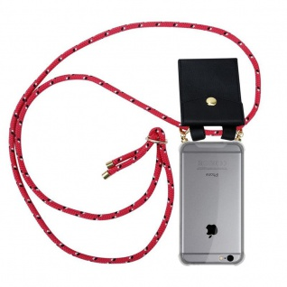 Cadorabo Handy Kette für Apple iPhone 6 PLUS / iPhone 6S PLUS in PINK SCHWARZ WEISS GEPUNKTET Silikon Necklace Umhänge Hülle mit Gold Ringen, Kordel Band Schnur und abnehmbarem Etui Schutzhülle