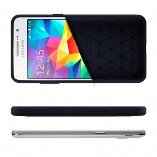 Cadorabo Hülle für Samsung Galaxy GRAND PRIME - Hülle in BRUSHED BLAU - Handyhülle aus TPU Silikon in Edelstahl-Karbonfaser Optik - Silikonhülle Schutzhülle Ultra Slim Soft Back Cover Case Bumper - Vorschau 4