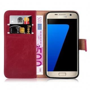 Cadorabo Hülle für Samsung Galaxy S7 in WEIN ROT ? Handyhülle mit Magnetverschluss, Standfunktion und Kartenfach ? Case Cover Schutzhülle Etui Tasche Book Klapp Style - Vorschau 5