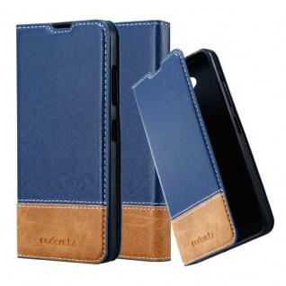 Cadorabo Hülle für Nokia Lumia 650 in DUNKEL BLAU BRAUN - Handyhülle mit Magnetverschluss, Standfunktion und Kartenfach - Case Cover Schutzhülle Etui Tasche Book Klapp Style