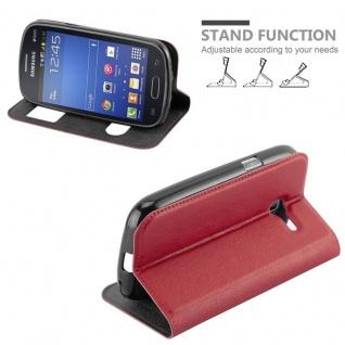Cadorabo Hülle für Samsung Galaxy TREND LITE in SAFRAN ROT ? Handyhülle mit Magnetverschluss, Standfunktion und 2 Sichtfenstern ? Case Cover Schutzhülle Etui Tasche Book Klapp Style - Vorschau 4