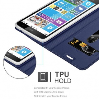Cadorabo Hülle für Nokia Lumia 1320 in CLASSY DUNKEL BLAU - Handyhülle mit Magnetverschluss, Standfunktion und Kartenfach - Case Cover Schutzhülle Etui Tasche Book Klapp Style - Vorschau 2