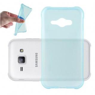 Cadorabo Hülle für Samsung Galaxy J1 ACE in TRANSPARENT BLAU - Handyhülle aus flexiblem TPU Silikon - Silikonhülle Schutzhülle Ultra Slim Soft Back Cover Case Bumper