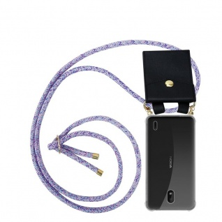 Cadorabo Handy Kette für Nokia 1 PLUS in UNICORN Silikon Necklace Umhänge Hülle mit Gold Ringen, Kordel Band Schnur und abnehmbarem Etui Schutzhülle