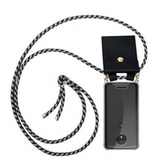 Cadorabo Handy Kette für Motorola MOTO C in DUNKELBLAU GELB - Silikon Necklace Umhänge Hülle mit Gold Ringen, Kordel Band Schnur und abnehmbarem Etui ? Schutzhülle