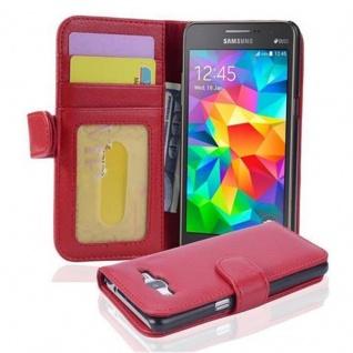 Cadorabo Hülle für Samsung Galaxy GRAND PRIME in INFERNO ROT ? Handyhülle mit Magnetverschluss und 3 Kartenfächern ? Case Cover Schutzhülle Etui Tasche Book Klapp Style