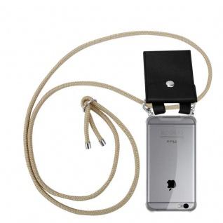 Cadorabo Handy Kette für Apple iPhone 6 PLUS / iPhone 6S PLUS in GLÄNZEND BRAUN - Silikon Necklace Umhänge Hülle mit Silber Ringen, Kordel Band Schnur und abnehmbarem Etui - Schutzhülle