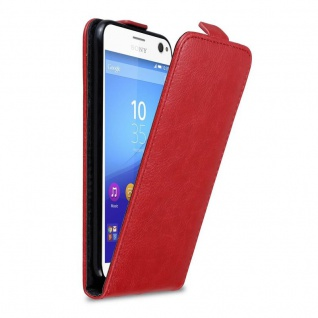 Cadorabo Hülle für Sony Xperia C4 in APFEL ROT - Handyhülle im Flip Design mit Magnetverschluss - Case Cover Schutzhülle Etui Tasche Book Klapp Style