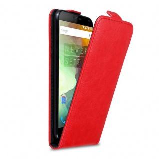 Cadorabo Hülle für OnePlus 2 in APFEL ROT - Handyhülle im Flip Design mit Magnetverschluss - Case Cover Schutzhülle Etui Tasche Book Klapp Style