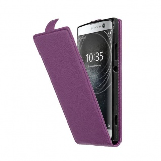 Cadorabo Hülle für Sony Xperia XA2 in BORDEAUX LILA - Handyhülle im Flip Design aus strukturiertem Kunstleder - Case Cover Schutzhülle Etui Tasche Book Klapp Style