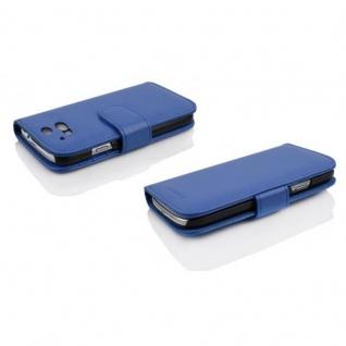 Cadorabo Hülle für HTC ONE M8 (2. Gen.) in NEPTUN BLAU - Handyhülle mit Magnetverschluss und 3 Kartenfächern - Case Cover Schutzhülle Etui Tasche Book Klapp Style - Vorschau 3