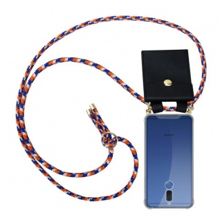 Cadorabo Handy Kette für Huawei MATE 10 LITE in ORANGE BLAU WEISS - Silikon Necklace Umhänge Hülle mit Gold Ringen, Kordel Band Schnur und abnehmbarem Etui ? Schutzhülle