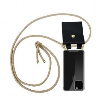 Cadorabo Handy Kette für Apple iPhone 11 PRO MAX (XI PRO MAX) in GLÄNZEND BRAUN - Silikon Necklace Umhänge Hülle mit Gold Ringen, Kordel Band Schnur und abnehmbarem Etui - Schutzhülle