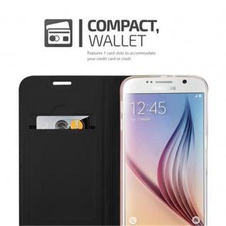Cadorabo Hülle für Samsung Galaxy S6 in CLASSY SCHWARZ - Handyhülle mit Magnetverschluss, Standfunktion und Kartenfach - Case Cover Schutzhülle Etui Tasche Book Klapp Style - Vorschau 3