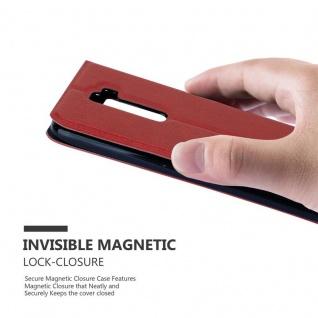 Cadorabo Hülle für LG K10 2016 in SAFRAN ROT ? Handyhülle mit Magnetverschluss, Standfunktion und 2 Sichtfenstern ? Case Cover Schutzhülle Etui Tasche Book Klapp Style - Vorschau 5