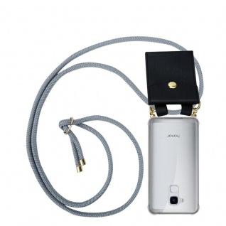 Cadorabo Handy Kette für Honor 5C in SILBER GRAU Silikon Necklace Umhänge Hülle mit Gold Ringen, Kordel Band Schnur und abnehmbarem Etui Schutzhülle