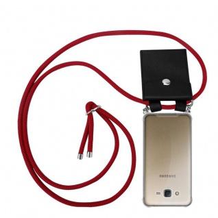 Cadorabo Handy Kette für Samsung Galaxy J7 2015 in RUBIN ROT - Silikon Necklace Umhänge Hülle mit Silber Ringen, Kordel Band Schnur und abnehmbarem Etui - Schutzhülle