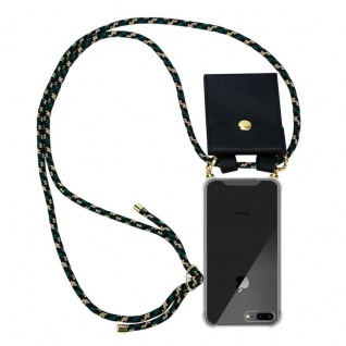 Cadorabo Handy Kette für Apple iPhone 8 PLUS / 7 PLUS / 7S PLUS in CAMOUFLAGE Silikon Necklace Umhänge Hülle mit Gold Ringen, Kordel Band Schnur und abnehmbarem Etui Schutzhülle