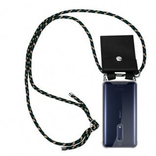 Cadorabo Handy Kette für Nokia 5 2017 in CAMOUFLAGE - Silikon Necklace Umhänge Hülle mit Silber Ringen, Kordel Band Schnur und abnehmbarem Etui - Schutzhülle
