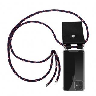 Cadorabo Handy Kette für Apple iPhone 11 (XI) in BLAU ROT WEISS GEPUNKTET - Silikon Necklace Umhänge Hülle mit Silber Ringen, Kordel Band Schnur und abnehmbarem Etui - Schutzhülle
