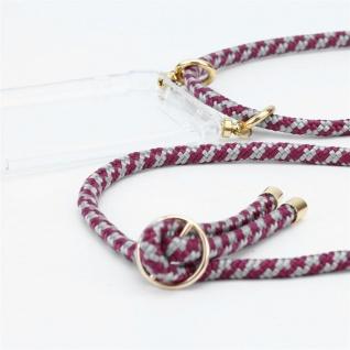 Cadorabo Handy Kette für HTC Desire 10 PRO in ROT WEISS - Silikon Necklace Umhänge Hülle mit Gold Ringen, Kordel Band Schnur und abnehmbarem Etui ? Schutzhülle - Vorschau 2