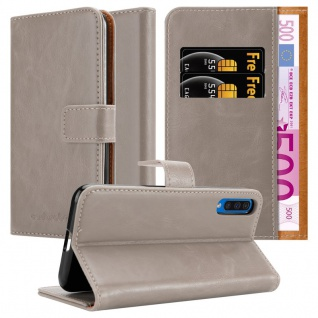 Cadorabo Hülle für Samsung Galaxy A50 in CAPPUCCINO BRAUN Handyhülle mit Magnetverschluss, Standfunktion und Kartenfach Case Cover Schutzhülle Etui Tasche Book Klapp Style