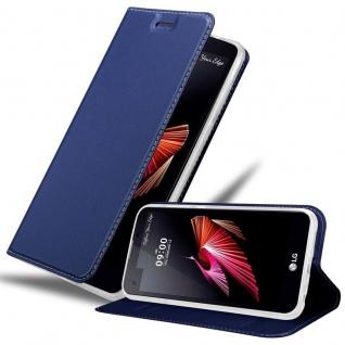 Cadorabo Hülle für LG X SCREEN in CLASSY DUNKEL BLAU - Handyhülle mit Magnetverschluss, Standfunktion und Kartenfach - Case Cover Schutzhülle Etui Tasche Book Klapp Style