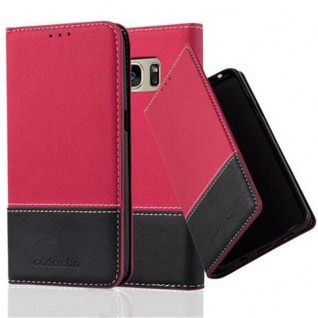 Cadorabo Hülle für Samsung Galaxy S7 in ROT SCHWARZ ? Handyhülle mit Magnetverschluss, Standfunktion und Kartenfach ? Case Cover Schutzhülle Etui Tasche Book Klapp Style