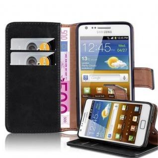 Cadorabo Hülle für Samsung Galaxy S2 / S2 PLUS in GRAPHIT SCHWARZ ? Handyhülle mit Magnetverschluss, Standfunktion und Kartenfach ? Case Cover Schutzhülle Etui Tasche Book Klapp Style