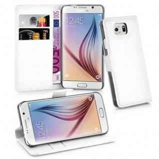 Cadorabo Hülle für Samsung Galaxy S6 in ARKTIS WEIß Handyhülle mit Magnetverschluss, Standfunktion und Kartenfach Case Cover Schutzhülle Etui Tasche Book Klapp Style