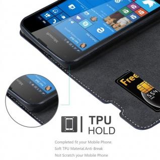 Cadorabo Hülle für Nokia Lumia 550 in DUNKEL BLAU BRAUN ? Handyhülle mit Magnetverschluss, Standfunktion und Kartenfach ? Case Cover Schutzhülle Etui Tasche Book Klapp Style
