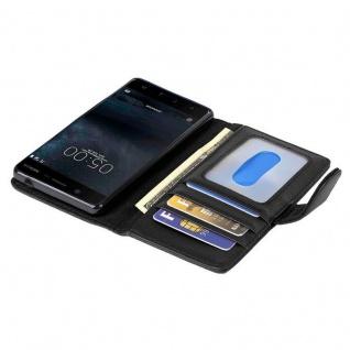 Cadorabo Hülle für Nokia 5 2017 in OXID SCHWARZ ? Handyhülle mit Magnetverschluss und 3 Kartenfächern ? Case Cover Schutzhülle Etui Tasche Book Klapp Style - Vorschau 2
