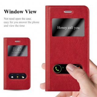 Cadorabo Hülle für Apple iPhone 6 PLUS / iPhone 6S PLUS in SAFRAN ROT ? Handyhülle mit Magnetverschluss, Standfunktion und 2 Sichtfenstern ? Case Cover Schutzhülle Etui Tasche Book Klapp Style - Vorschau 2