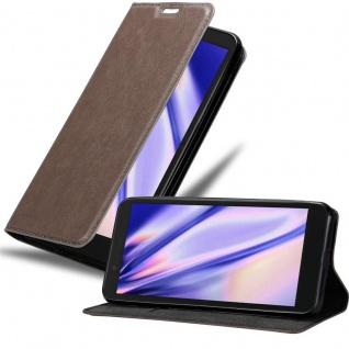 Cadorabo Hülle für Alcatel 1C 2019 in KAFFEE BRAUN - Handyhülle mit Magnetverschluss, Standfunktion und Kartenfach - Case Cover Schutzhülle Etui Tasche Book Klapp Style