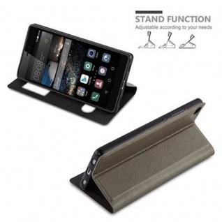 Cadorabo Hülle für Huawei P8 in STEIN BRAUN - Handyhülle mit Magnetverschluss, Standfunktion und 2 Sichtfenstern - Case Cover Schutzhülle Etui Tasche Book Klapp Style - Vorschau 5
