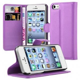 Cadorabo Hülle für Apple iPhone 5 / iPhone 5S / iPhone SE in MANGAN VIOLETT - Handyhülle mit Magnetverschluss, Standfunktion und Kartenfach - Case Cover Schutzhülle Etui Tasche Book Klapp Style