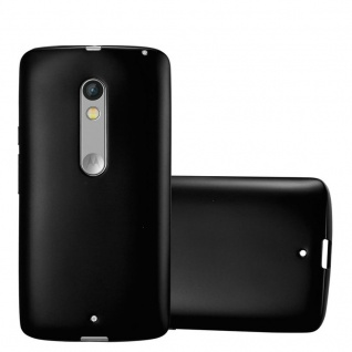Cadorabo Hülle für Motorola MOTO X PLAY in METALLIC SCHWARZ - Handyhülle aus flexiblem TPU Silikon - Silikonhülle Schutzhülle Ultra Slim Soft Back Cover Case Bumper