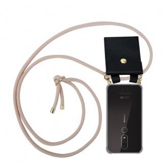 Cadorabo Handy Kette für Nokia 4.2 in PERLIG ROSÉGOLD - Silikon Necklace Umhänge Hülle mit Gold Ringen, Kordel Band Schnur und abnehmbarem Etui ? Schutzhülle