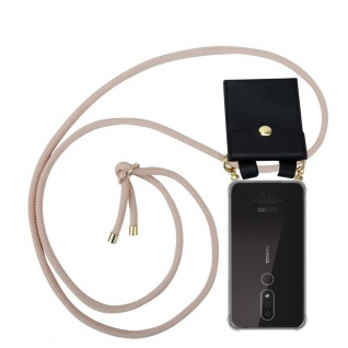Cadorabo Handy Kette für Nokia 4.2 in PERLIG ROSÉGOLD Silikon Necklace Umhänge Hülle mit Gold Ringen, Kordel Band Schnur und abnehmbarem Etui Schutzhülle