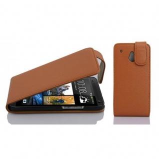Cadorabo Hülle für HTC ONE M4 MINI in COGNAC BRAUN - Handyhülle im Flip Design aus strukturiertem Kunstleder - Case Cover Schutzhülle Etui Tasche Book Klapp Style