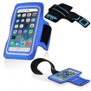 Cadorabo - Neopren Smartphone Sport Armband Fitnessstudio Jogging Armband Oberarmtasche kompatibel mit 4.5 - 5.0 Zoll Handys wie z. B. Apple iPhone 6 / 6S, 8 / 7 / 7S, Samsung Galaxy A3, HTC ONE A9 usw. mit Schlüsselfach und Kopfhöreranschluss in BLA