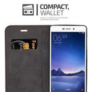 Cadorabo Hülle für Xiaomi RedMi 3S in APFEL ROT Handyhülle mit Magnetverschluss, Standfunktion und Kartenfach Case Cover Schutzhülle Etui Tasche Book Klapp Style - Vorschau 3