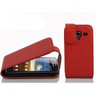 Cadorabo Hülle für Samsung Galaxy ACE 2 in INFERNO ROT - Handyhülle im Flip Design aus strukturiertem Kunstleder - Case Cover Schutzhülle Etui Tasche Book Klapp Style