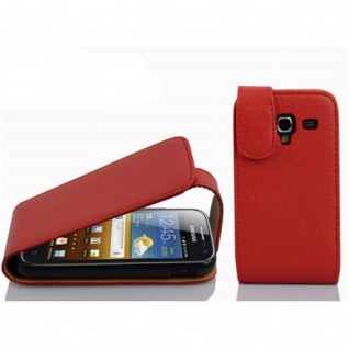 Cadorabo Hülle für Samsung Galaxy ACE 2 in INFERNO ROT Handyhülle im Flip Design aus strukturiertem Kunstleder Case Cover Schutzhülle Etui Tasche Book Klapp Style