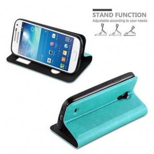 Cadorabo Hülle für Samsung Galaxy S4 MINI in MINT TÜRKIS ? Handyhülle mit Magnetverschluss, Standfunktion und 2 Sichtfenstern ? Case Cover Schutzhülle Etui Tasche Book Klapp Style - Vorschau 4