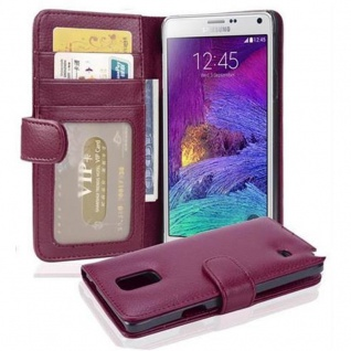 Cadorabo Hülle für Samsung Galaxy NOTE 4 in BORDEAUX LILA ? Handyhülle mit Magnetverschluss und 3 Kartenfächern ? Case Cover Schutzhülle Etui Tasche Book Klapp Style