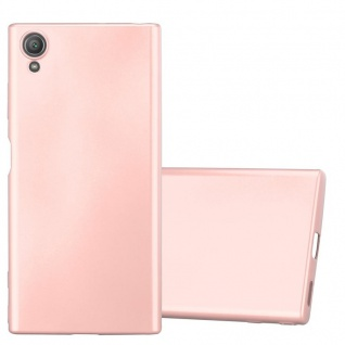Cadorabo Hülle für Sony Xperia XA1 PLUS in METALLIC ROSÉ GOLD - Handyhülle aus flexiblem TPU Silikon - Silikonhülle Schutzhülle Ultra Slim Soft Back Cover Case Bumper