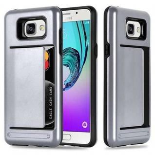 Cadorabo Hülle für Samsung Galaxy A5 2016 - Hülle in ARMOR SILBER ? Handyhülle mit Kartenfach - Hard Case TPU Silikon Schutzhülle für Hybrid Cover im Outdoor Heavy Duty Design